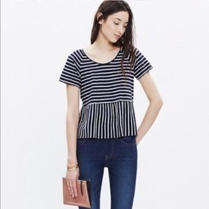 Madewell linen striped swing panel peplum tee XXS